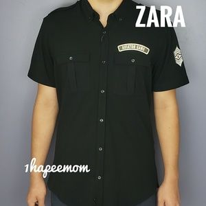 Zara Man Slim Fit Black Aviator Shirt